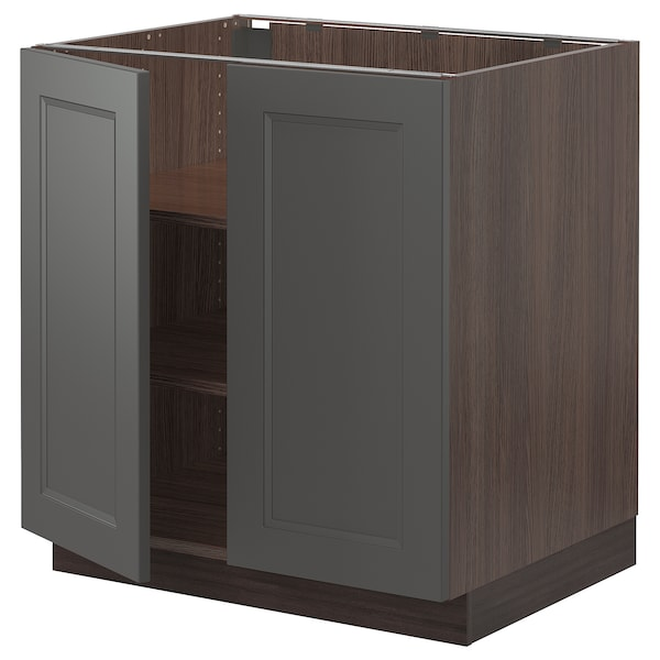 """SEKTION Base cabinet with shelves/2 doors, brown/Axstad dark gray, 30x24x30 """""""