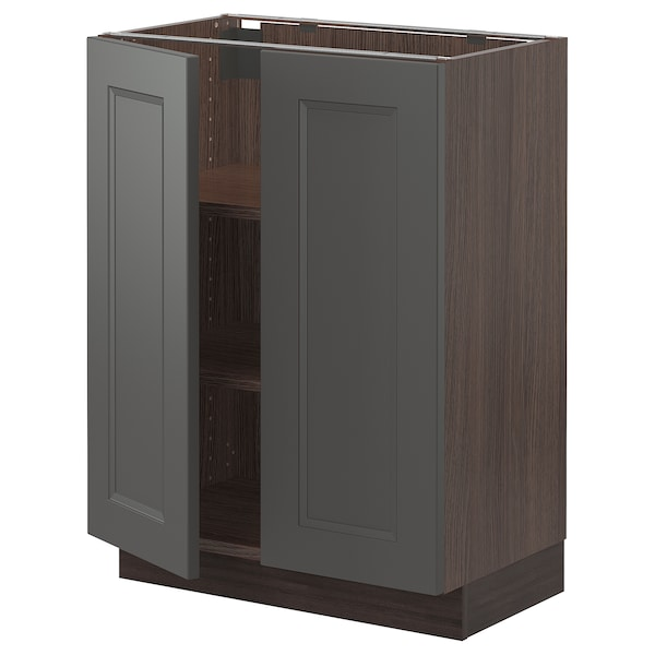 """SEKTION Base cabinet with shelves/2 doors, brown/Axstad dark gray, 24x15x30 """""""