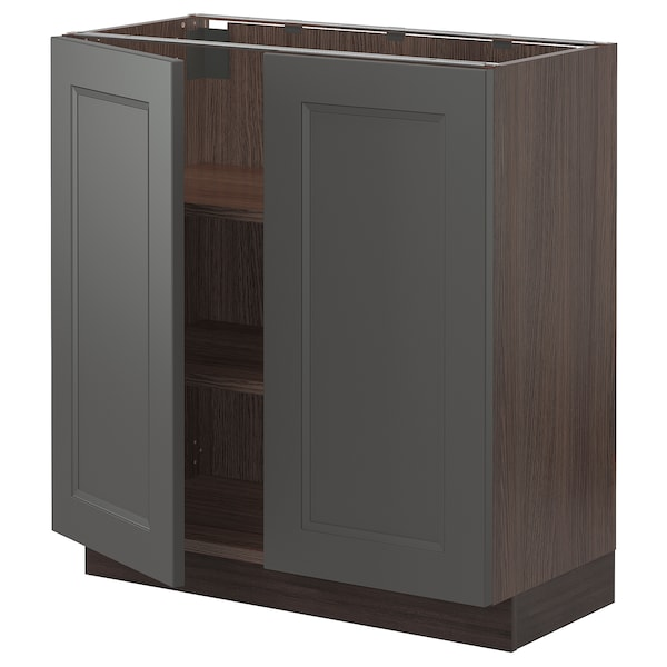 """SEKTION Base cabinet with shelves/2 doors, brown/Axstad dark gray, 30x15x30 """""""