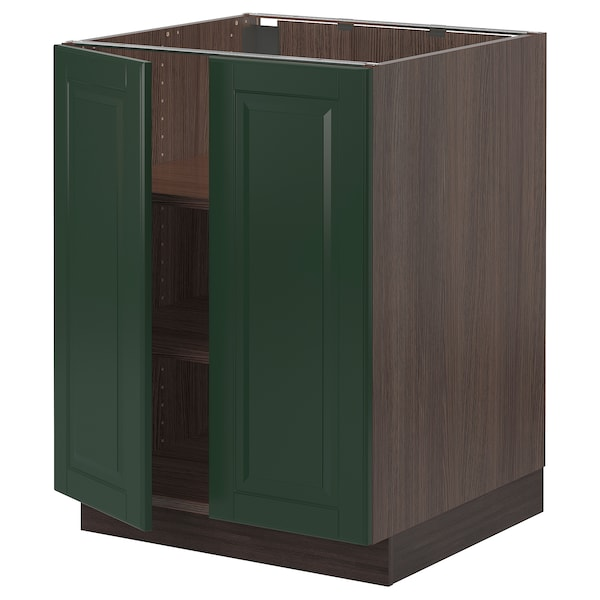 SEKTION Base cabinet with shelves/2 doors, brown/Bodbyn dark green, 24x24x30 ""