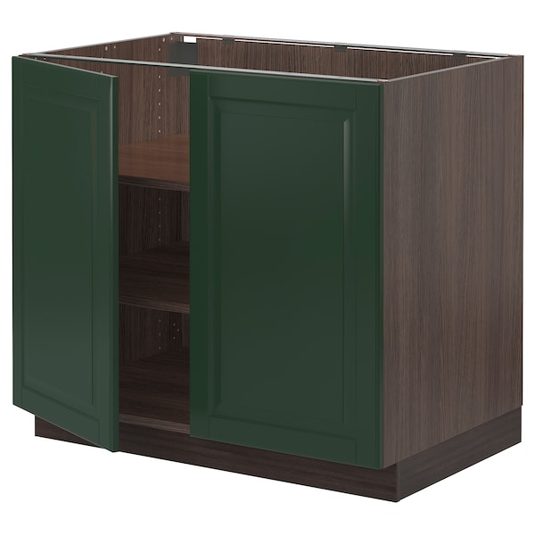 """SEKTION Base cabinet with shelves/2 doors, brown/Bodbyn dark green, 36x24x30 """""""