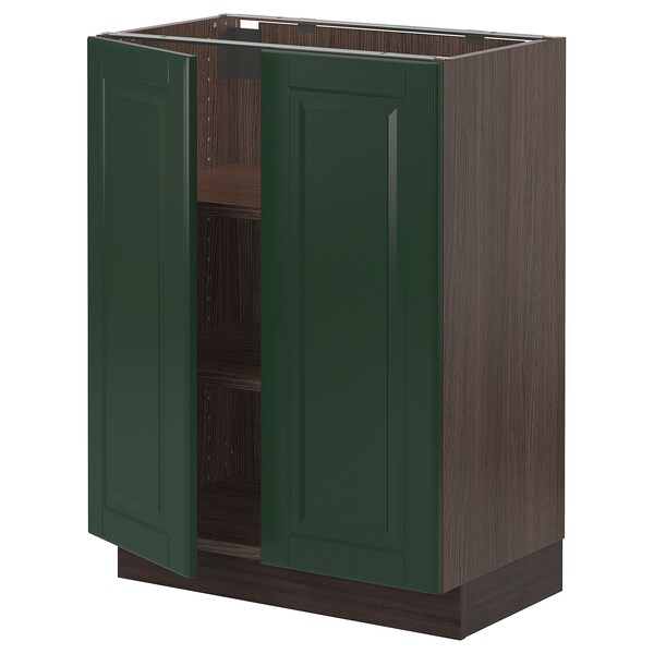 SEKTION Base cabinet with shelves/2 doors, brown/Bodbyn dark green, 24x15x30 ""