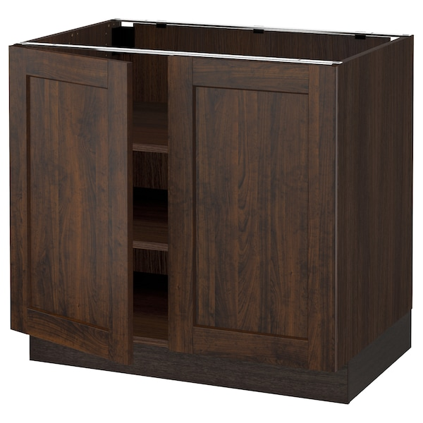SEKTION Base cabinet with shelves/2 doors, brown/Edserum brown, 36x24x30 ""