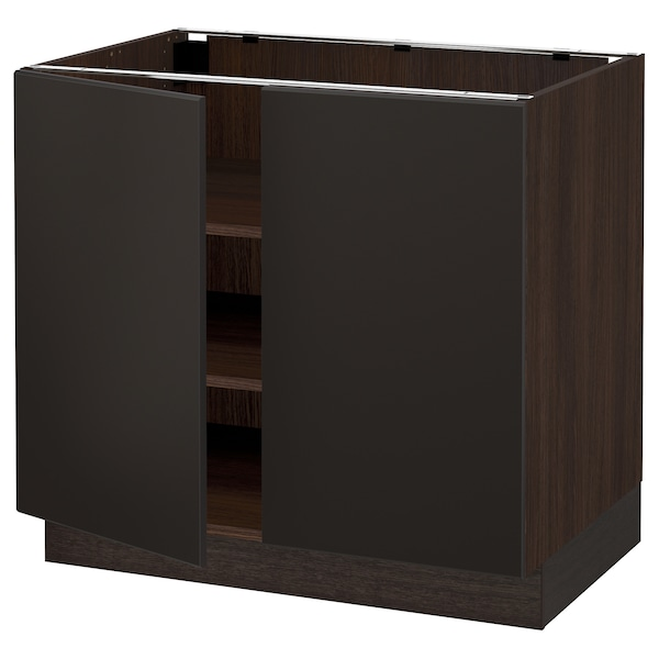 """SEKTION Base cabinet with shelves/2 doors, brown/Kungsbacka anthracite, 36x24x30 """""""