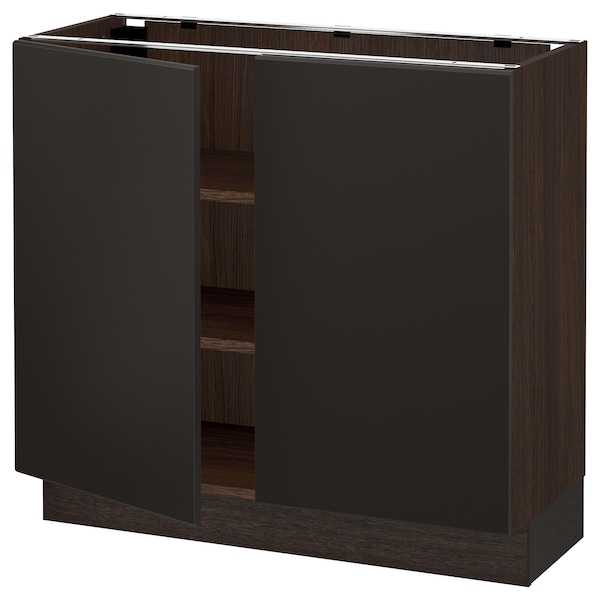 """SEKTION Base cabinet with shelves/2 doors, brown/Kungsbacka anthracite, 36x15x30 """""""
