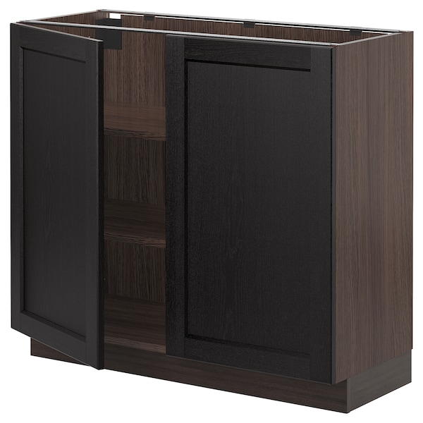 """SEKTION Base cabinet with shelves/2 doors, brown/Lerhyttan black stained, 36x15x30 """""""
