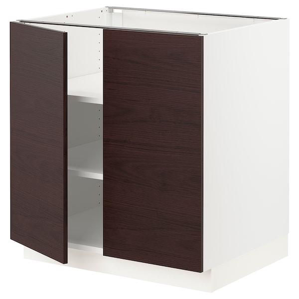 "SEKTION Base cabinet with shelves/2 doors, white Askersund/dark brown ash effect, 30x24x30 """