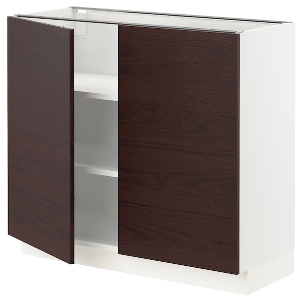 SEKTION Base cabinet with shelves/2 doors, white Askersund/dark brown ash effect, 36x15x30 ""