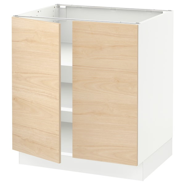"SEKTION Base cabinet with shelves/2 doors, white/Askersund light ash effect, 30x24x30 """
