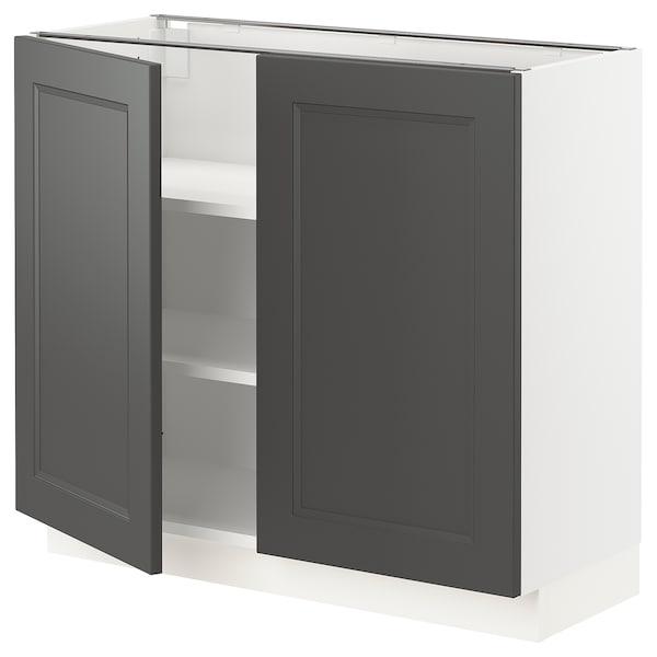 "SEKTION Base cabinet with shelves/2 doors, white/Axstad dark gray, 36x15x30 """