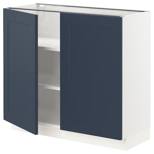 "SEKTION Base cabinet with shelves/2 doors, white Axstad/matte blue, 36x15x30 """