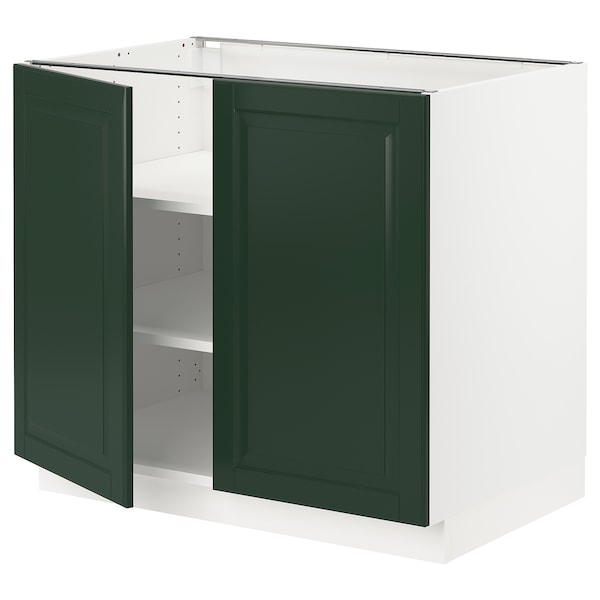 SEKTION Base cabinet with shelves/2 doors, white/Bodbyn dark green, 36x24x30 ""
