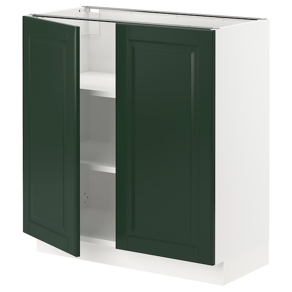 """SEKTION Base cabinet with shelves/2 doors, white/Bodbyn dark green, 30x15x30 """""""