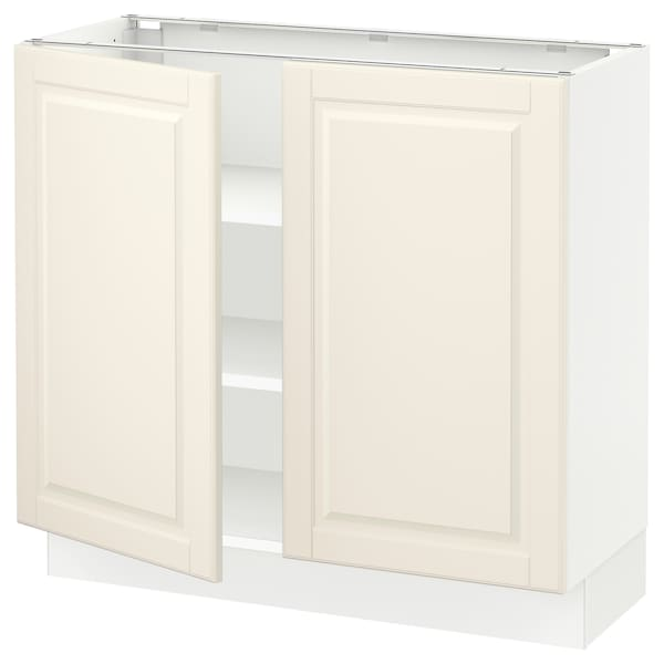 SEKTION Base cabinet with shelves/2 doors, white/Bodbyn off-white, 36x15x30 ""