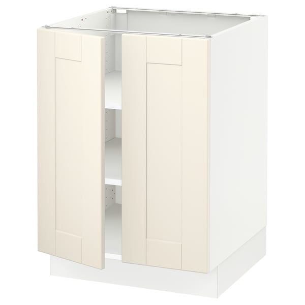 SEKTION Base cabinet with shelves/2 doors, white/Grimslöv off-white, 24x24x30 ""