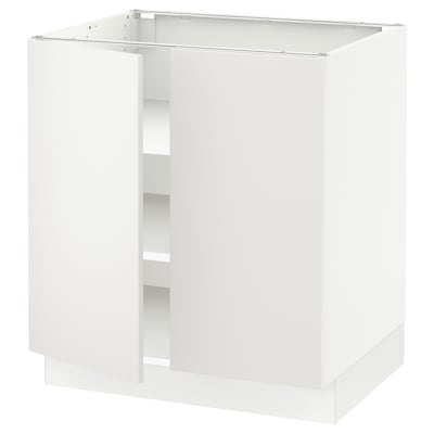 """SEKTION Base cabinet with shelves/2 doors, white/Häggeby white, 30x24x30 """""""