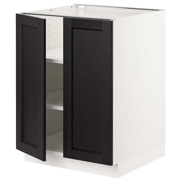"""SEKTION Base cabinet with shelves/2 doors, white/Lerhyttan black stained, 24x24x30 """""""