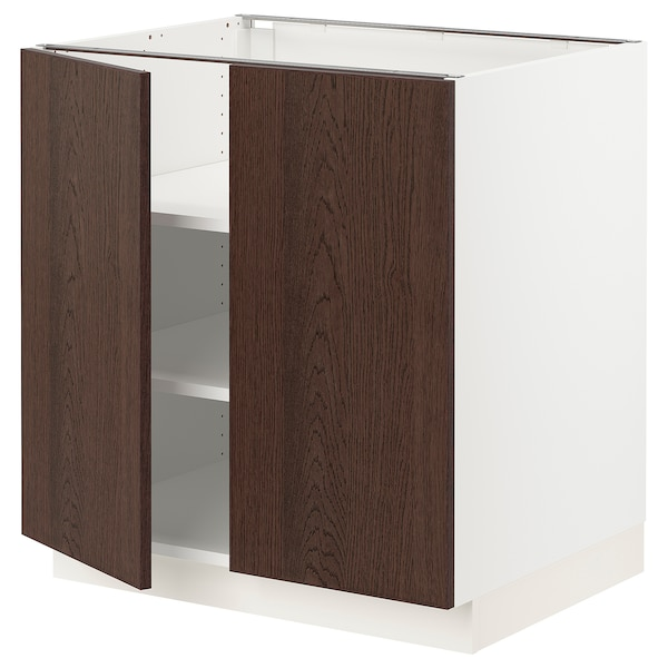 """SEKTION Base cabinet with shelves/2 doors, white/Sinarp brown, 30x24x30 """""""