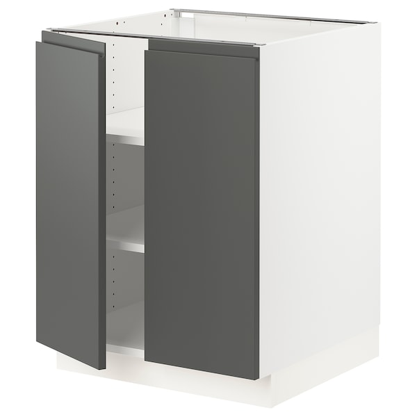 """SEKTION Base cabinet with shelves/2 doors, white/Voxtorp dark gray, 24x24x30 """""""