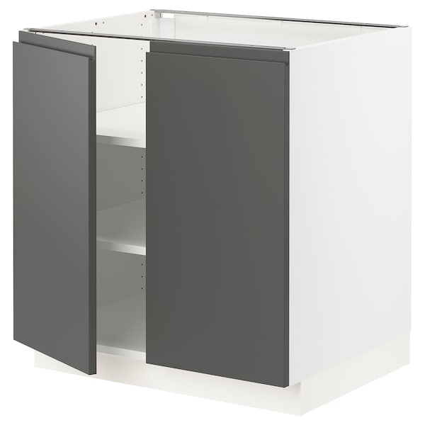 """SEKTION Base cabinet with shelves/2 doors, white/Voxtorp dark gray, 30x24x30 """""""