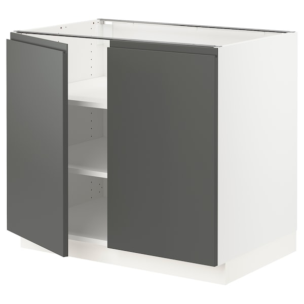 """SEKTION Base cabinet with shelves/2 doors, white/Voxtorp dark gray, 36x24x30 """""""