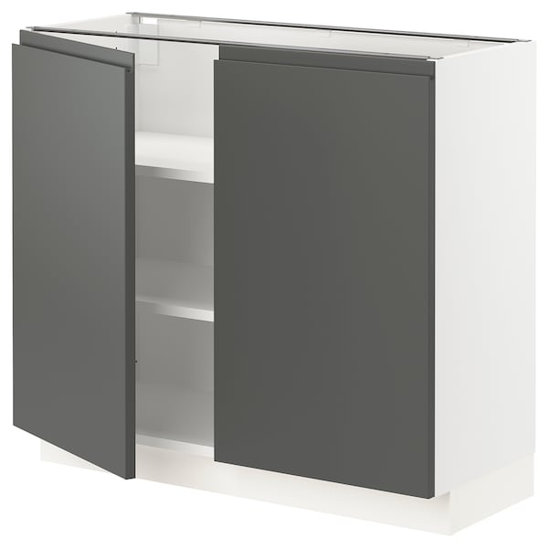 """SEKTION Base cabinet with shelves/2 doors, white/Voxtorp dark gray, 36x15x30 """""""