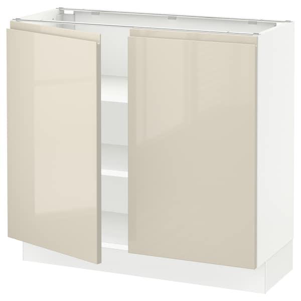 "SEKTION Base cabinet with shelves/2 doors, white/Voxtorp high-gloss light beige, 36x15x30 """
