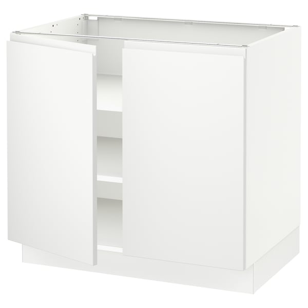 "SEKTION Base cabinet with shelves/2 doors, white/Voxtorp matt white, 36x24x30 """