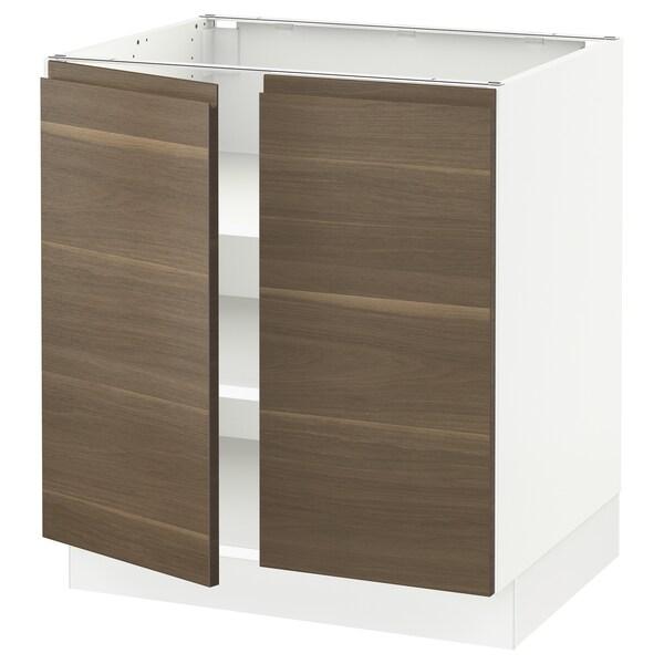 "SEKTION Base cabinet with shelves/2 doors, white/Voxtorp walnut effect, 30x24x30 """