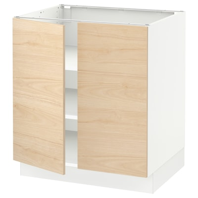 "SEKTION base cabinet with shelves/2 doors white/Askersund light ash effect 30 "" 24 "" 24 3/4 "" 30 """