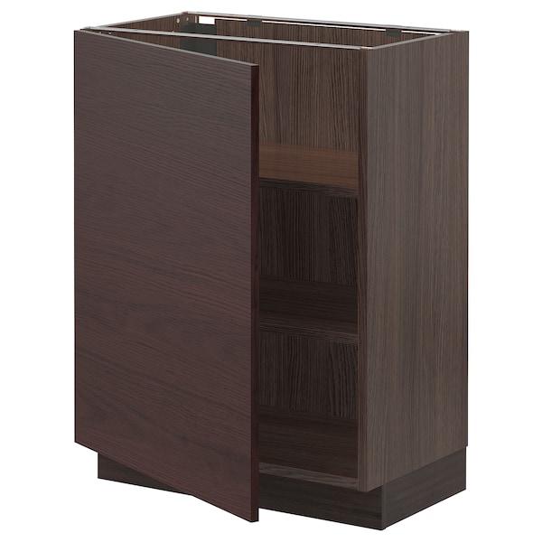 "SEKTION Base cabinet with shelves, brown Askersund/dark brown ash effect, 24x15x30 """