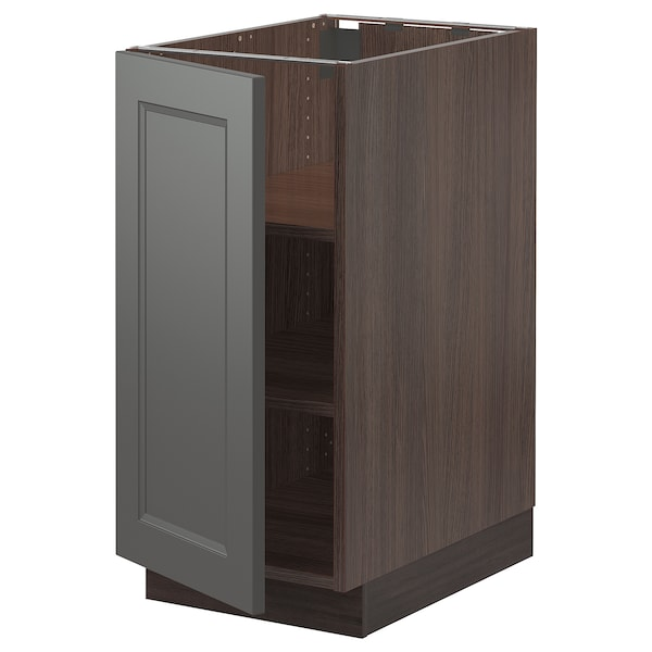 SEKTION Base cabinet with shelves, brown/Axstad dark gray, 15x24x30 ""