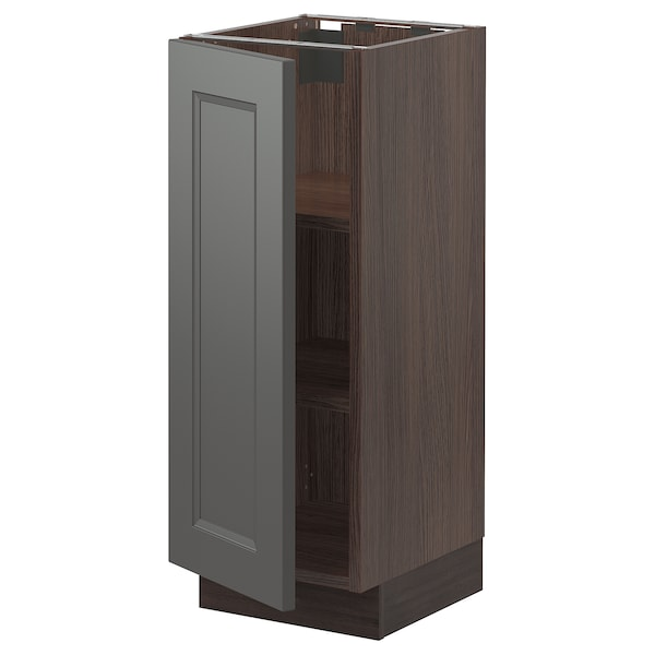 """SEKTION Base cabinet with shelves, brown/Axstad dark gray, 12x15x30 """""""