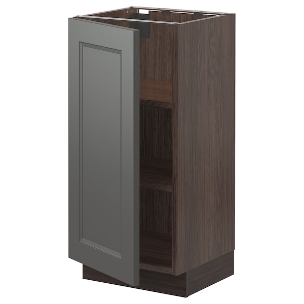 """SEKTION Base cabinet with shelves, brown/Axstad dark gray, 15x15x30 """""""