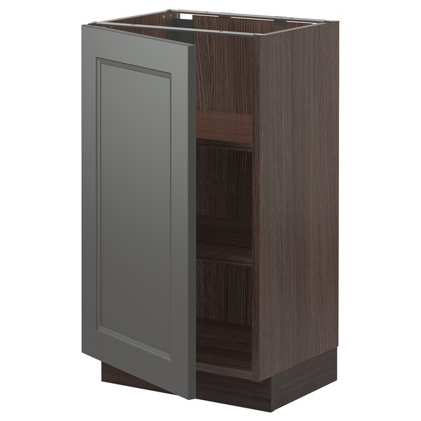 """SEKTION Base cabinet with shelves, brown/Axstad dark gray, 18x15x30 """""""