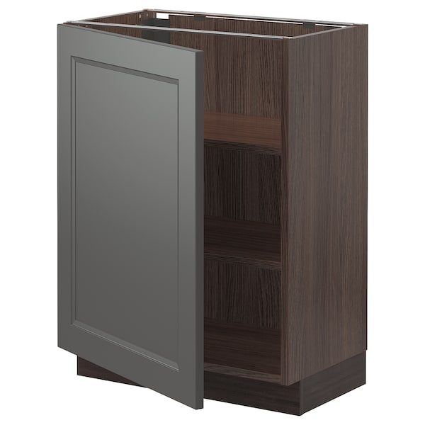 """SEKTION Base cabinet with shelves, brown/Axstad dark gray, 24x15x30 """""""