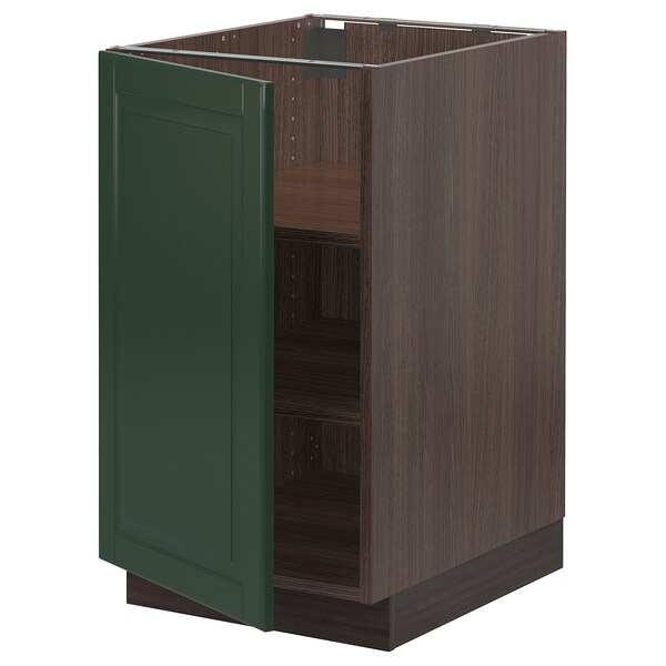 "SEKTION Base cabinet with shelves, brown/Bodbyn dark green, 18x24x30 """
