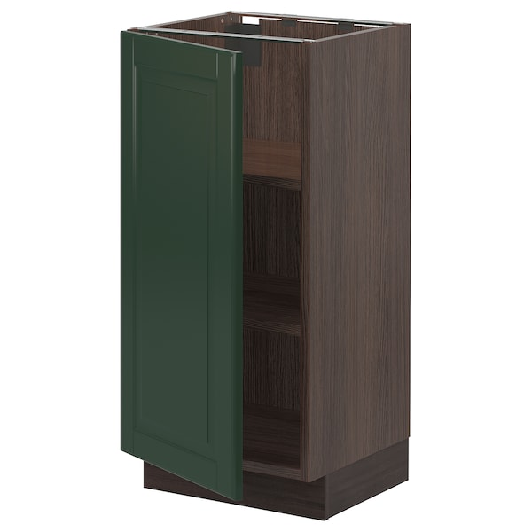SEKTION Base cabinet with shelves, brown/Bodbyn dark green, 15x15x30 ""