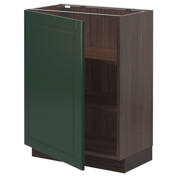 "SEKTION Base cabinet with shelves, brown/Bodbyn dark green, 24x15x30 """