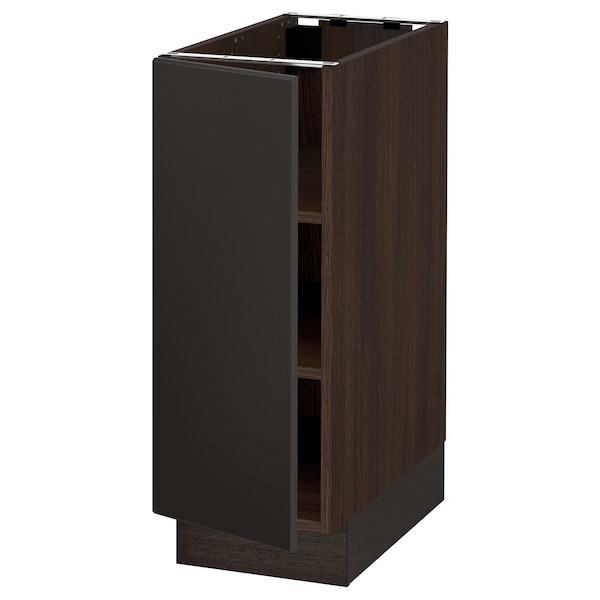 SEKTION Base cabinet with shelves, brown/Kungsbacka anthracite, 12x24x30 ""