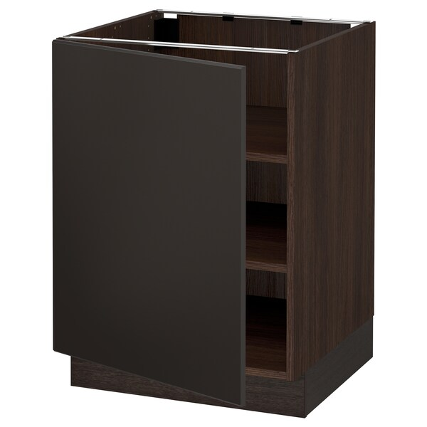 """SEKTION Base cabinet with shelves, brown/Kungsbacka anthracite, 24x24x30 """""""
