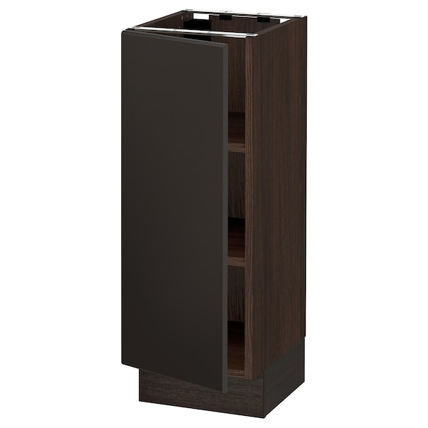 """SEKTION Base cabinet with shelves, brown/Kungsbacka anthracite, 12x15x30 """""""