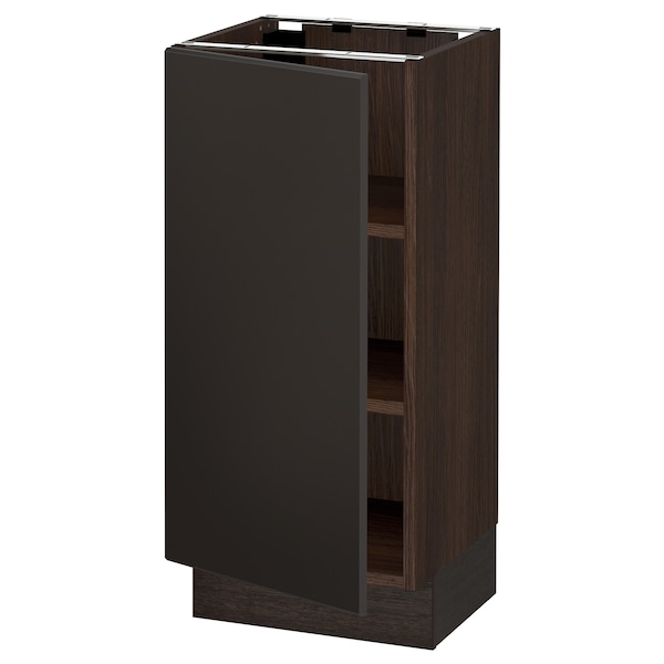 SEKTION Base cabinet with shelves, brown/Kungsbacka anthracite, 15x15x30 ""