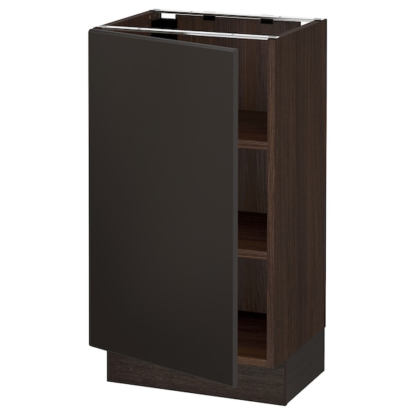 SEKTION Base cabinet with shelves, brown/Kungsbacka anthracite, 18x15x30 ""
