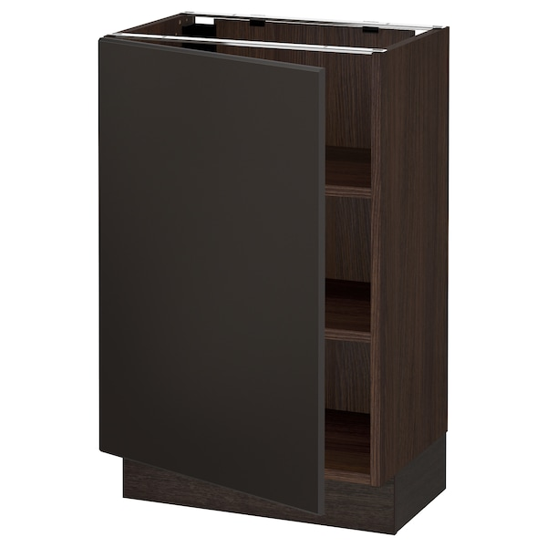 """SEKTION Base cabinet with shelves, brown/Kungsbacka anthracite, 21x15x30 """""""
