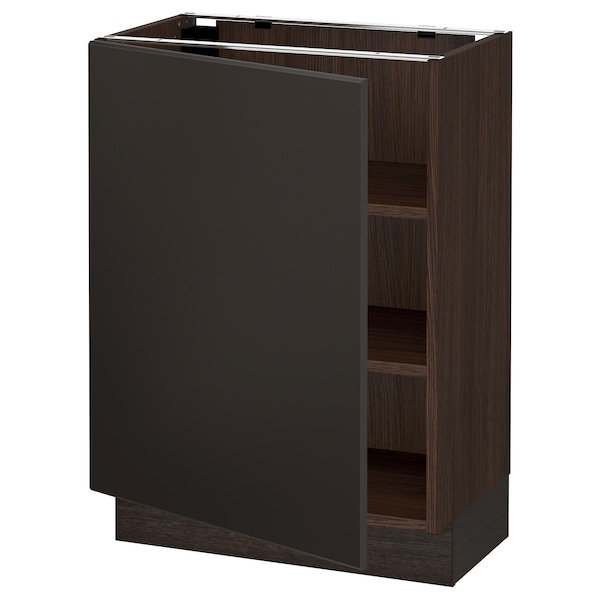 """SEKTION Base cabinet with shelves, brown/Kungsbacka anthracite, 24x15x30 """""""