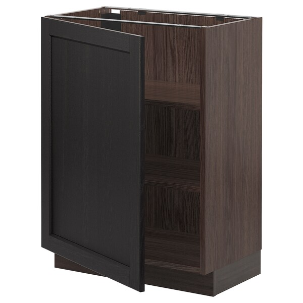 SEKTION Base cabinet with shelves, brown/Lerhyttan black stained, 24x15x30 ""