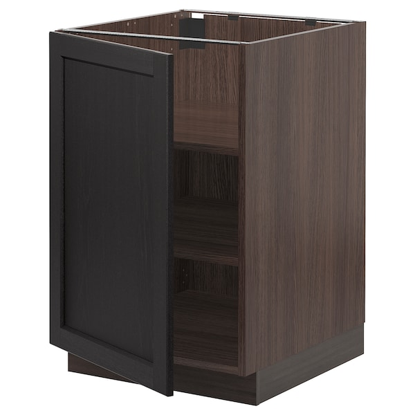 SEKTION Base cabinet with shelves, brown/Lerhyttan black stained, 21x24x30 ""