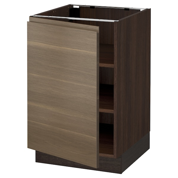 """SEKTION Base cabinet with shelves, brown/Voxtorp walnut effect, 21x24x30 """""""