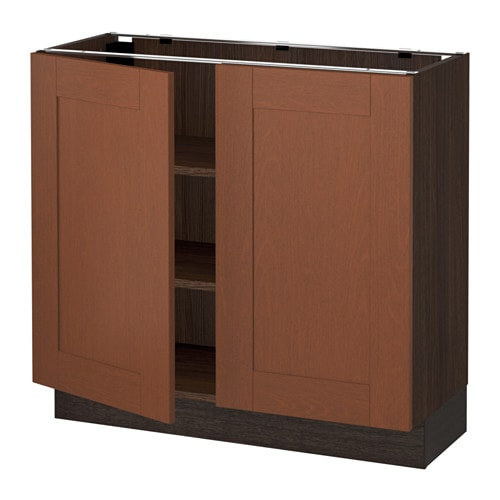 Sektion base cabinet with shelves 2 doors wood effect for Wood effect kitchen doors